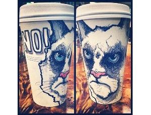 Необычные рисунки на стаканах для кофе